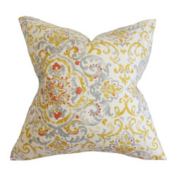 """The Pillow Collection - Halcyon Floral Pillow Gray Yellow 18"""" x 18"""" - Accent your furniture with this beautiful decor piece. This square pillow is specially crafted from a blend of 55% cotton and 45% line to provide extraordinary comfort and style to your living space. Decorated with a floral detail in bright yellow, platinum, red and white hues. This 18"""" pillow easily combines with solids and other graphic patterns. Hidden zipper closure for easy cover removal.  Knife edge finish on all four sides.  Reversible pillow with the same fabric on the back side.  Spot cleaning suggested."""