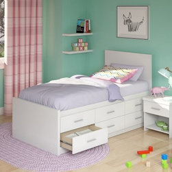 Sonax Willow Twin Captains Storage Bed with 6 Drawers - Frost White - Your child will be delighted to have the Sonax Willow Twin Captains Storage Bed with 6 Drawers - Frost White gracing their bedroom. This twin-sized bed is made eco-friendly from engineered wood. Its stark, frost-white finish really catches the eye and the platform design means you don't need to worry about a box spring. Your child can keep all of their favorite toys within reach in this bed's six large Euro-glide drawers.About SonaxFor more than 30 years Sonax has led the industry with their eye-catching line of contemporary wares. With inspiration drawn from their home on Canada's West Coast, Sonax embraces natural wood tones complemented by a warm and inviting color palette. Their love for the natural is extended by a choice to embrace composite-wood construction that creates not only durable but more environmentally friendly products. A resident team of designers has made it their goal to remain at the forefront of design, bringing high-quality and inviting style to the market year after year. Standing firmly on roots of innovation and integrity, Sonax is proud to bring a piece of their vision into your home.