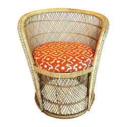 """Pre-owned Vintage Rattan Desk Chair with Orange Cushion - A beautiful rounded back rattan chair with a newly upholstered tangerine """"Fez"""" fabric by Lee Jofa. 18"""" seat height. Chair is structurally sound, with minor wear to the rattan due to age."""