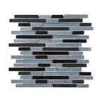 Glass & Stone Mosaic - Ceramic Tileworks - Bliss Glass & Stone Mosaic Tile - Random Black Timber