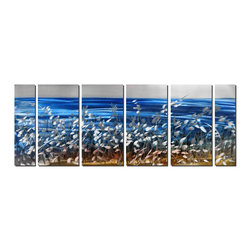Pure Art - At Water's Edge Modern Metal Art Set of 6 - The classic combination of silver and white is fresh and contemporary in this modern seascape, balancing horizontal lines with stark vertical images. The foreground features seaside grasses bathed in silver light contrasting against the azure blue of the water beyond. The sandy color at the base of the artwork adds more contrast and warmth to balance the icy blue and silver.Made with top grade aluminum material and handcrafted with the use of special colors, it is a very appealing piece that sticks out with its genuine glow. Easy to hang and clean.