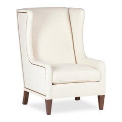 Kathy Kuo Home - Reagan Hollywood Regency Ivory Wing Back Arm Chair - Some things just never go out of style: Hermes scarves, Persol sunglasses, X series jags and nail head detailed wing back arm chairs are just a few.  Here's one wing back you can make truly your own: a high-backed presidential style available in light ivory linen or your own material of choice.  COM offered at the same price.