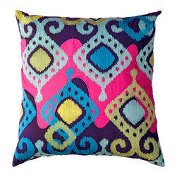 KOKO - Totem Pillow, Pink/Mauve/Green - Eye-popping design, brilliant colors and the textural quality of appliqué and embroidery don't simply adorn, they empower! Toss this pillow to make an exciting style statement.