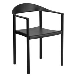 Flash Furniture - Hercules Series 1000 lb. Capacity Black Plastic Cafe Stack Chair - The Cafe Chair by Flash Furniture will add value and offer an attractive presence to your Cafe, Diner, Restaurant, Banquet Facility or Home. This chair has a curvaceous back, seat and arms that is pleasing to the eye, and offered at an affordable price. This chair not only looks great, but is very durable with a 1000 lb. capacity rating so it will last throughout the years!