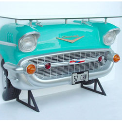 Sunbelt Marketing Group - 1957 Chevrolet Bel Air Bar in Turquoise - This car bar is just AWESOME, and it will look so cool in your space. It's made from fiberglass and steel with a durable finish in the correct paint colors. Incredible attention to detail. Includes a safety-tempered glass shelf. It's perfect for your Man Cave, Game Room, Office or anywhere you want to show love for your favorite vehicle! Due to size and weight, this item ships via freight truck. Officially licensed GM product. Measures approximately 6 x 2 x 4 feet.