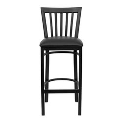 """FlashFurniture - Hercules Series School House Back Metal Restaurant Bar Stool - Features: -Heavy duty restaurant bar stool. -Black powder coated frame finish. -School house style back. -Black vinyl upholstered seat. -18 Gauge steel frame. -75"""" Thick plywood seat. -2.5'' Thick 1.4 Density Foam Padded Seat. -Foot rest rung. -Two curved support bars. -Welded joint assembly. -Assembly required. -CA117 Fire Retardant Foam. -Designed for Commercial Use; Suitable for Home Use. Specifications: -Seat dimensions: 16.25"""" W x 16.5"""" D. -Back size: 17.25"""" W x 14"""" H. -Overall dimensions: 41.75"""" H x 17.25"""" W x 19.5"""" D."""