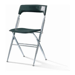Foldable chair - Foldable dining room chair with PVC and chrome frame Stackable. loading quantity for a 40HC is 2324 pcs.