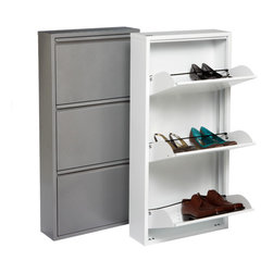 3-Drawer Shoe Cabinet - This is a clever way to store shoes in a tight closet space. It is a great way to disguise the unit as just a typical storage cabinet.