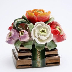 CG - Multi Colored Flower Bouquet on Books Bound By Green Ribbon Music Box - This gorgeous Multi Colored Flower Bouquet on Books Bound By Green Ribbon Music Box has the finest details and highest quality you will find anywhere! Multi Colored Flower Bouquet on Books Bound By Green Ribbon Music Box is truly remarkable.