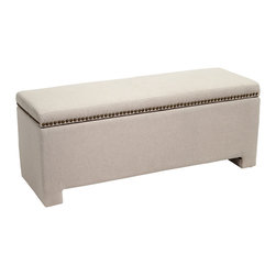 Great Deal Furniture - Hudson Fabric Storage Ottoman Bench, Ivory - The Hudson storage ottoman bench is a stylish addition to any living space or bedroom. With studded detailing along the trim, this ottoman bench is a versatile storage solution that will compliment any decor.