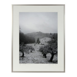 """Lost Art Salon - 'Old Orchard in Snow' Original Photograph - Entitled """"Old Orchard in Snow"""" this photograph is by contemporary Mendocino/Bay Area artist, Gaetan Caron (b. 1964), co-founder of Lost Art Salon in San Francisco. Part of the fine art photography documentation of the artist's homestead in Mendocino, Northern California. Produced in a limited edition of seven and printed on archival Hahnemuhle Fine Art Pearl paper.  Framed in a contemporary German silver metal frame using 8-ply archival matting behind conservation clear glass."""