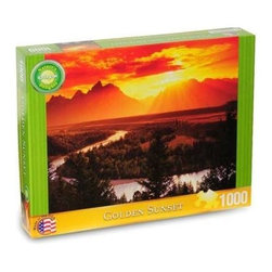 Golden Sunset Puzzle - 1000 Piece Natural Delights Jigsaw PuzzleGolden Sunset was a 1500 piece Springbok Puzzle for a long time. At that size it was a daunting challenge, but as a 1000 piece Delight this puzzle is simply a gorgeous sunset. The small details of the landscape such as the winding wriver will make this puzzle a pleasure to piece together.