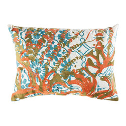 """Koko Company - Mikros Pillow, Orange, Blue, and Green, 13"""" x 20"""" - Inspired by minute organisms in mineral colors."""