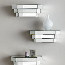 Mirrored Step Shelf - Wow! These mirrored shelves really add some glitz and glam. I would use them in an vintage Hollywood Regency–themed room complete with a fluffy white lambskin rug, rosy walls and a mirrored vanity. So chic!