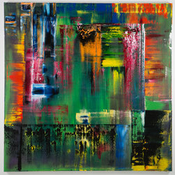 Oil on Canvas #4-2014 72inx72in - Large Abstract oil on canvas painting with a vibrant color palette. Original Art. Signed by artist. Only high end professional materials used. Ready to Hang. 72inx72in