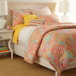 "Lauren Ralph Lauren - Lauren Ralph Lauren Twin/Twin XL Sheet Set - The forecast is forever sunny with paisley and striped Fallon bed linens from Lauren Ralph Lauren. All of cotton. Spot clean striped crochet pillow; machine wash other linens. Twin comforter set includes 66"" x 86"" comforter and one standard sham. Ful..."
