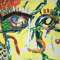 "Urban Eyes (Original) by David De Hilster - I always have worked at an intimate level - close to the canvas. But with this painting, I decided to go ""big"" and instead of a brush or coat hanger (one of my favorite tools), I used a palette knife.  This is painted on melatile which is a thin wood-like board with one very shiny side.  I liked that material for a while for my ""scraping"" painting and a way to draw and paint at the same time."