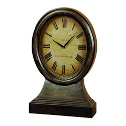 Benzara - Table Clock Brown Wood Roman Numerals London England Accent Decor 48184 - Antique style table clock in aged brown wood finish with roman numerals and London England detail accent Decor
