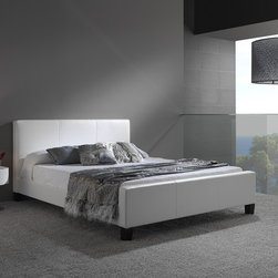 """FBG - Euro Platform Bed - Features: -Powder Coated Finish: No.-Gloss Finish: No.-Frame Material: Wood / Synthetic Leather.-Solid Wood Construction: No.-Upholstered: Yes -Upholstered Section: Headboard, Footboard, Side Rails.-Upholstery Material: Synthetic Leather.-Nailhead Trim: No.-Tufted: No..-Number of Items Included: 1 Headboard, 1 Footboard, Side Rails, Center Support, Slat Set.-Hardware Material: Metal.-Non Toxic: Yes.-Scratch Resistant: No.-Mattress Included: No.-Box Spring Required: No.-Headboard Storage: No.-Footboard Storage: No.-Underbed Storage: No.-Slats Required: Yes -Slats Included: Yes..-Center Support Legs: Yes.-Adjustable Headboard Height: No.-Adjustable Footboard Height: No.-Wingback: No.-Trundle Bed Included: No.-Attached Nightstand: No.-Cable Management: No.-Built in Outlets: No.-Lighted Headboard: No.-Finished Back: Yes.-Reclaimed Wood: No.-Number of Center Support Legs (Size: Full): 2.-Number of Center Support Legs (Size: King): 2.-Number of Center Support Legs (Size: Queen): 2.-Distressed: No.-Bed Rails Included: No.-Collection: Euro.-Eco-Friendly: No.-Recycled Content: No.-Wood Moldings: No.-Canopy Frame: No.-Hidden Storage: No.-Jewelry Compartment: No.-Weight Capacity: 600 lbs.-Swatch Available: No.-Commercial Use: No.-Product Care: Wipe with a clean, damp cloth.Specifications: -FSC Certified: No.-EPP Compliant: No.-CPSIA or CPSC Compliant: No.-CARB Compliant: No.-JPMA Certified: No.-ASTM Certified: No.-ISTA 3A Certified: No.-PEFC Certified: No.-General Conformity Certificate: No.-Green Guard Certified: No.Dimensions: -Overall Height - Top to Bottom (Size: Full): 36.75"""".-Overall Height - Top to Bottom (Size: King): 36.75"""".-Overall Height - Top to Bottom (Size: Queen): 36.75"""".-Overall Width - Side to Side (Size: Full): 57"""".-Overall Width - Side to Side (Size: King): 79"""".-Overall Width - Side to Side (Size: Queen): 63"""".-Overall Depth - Front to Back (Size: Full): 86"""".-Overall Depth - Front to Back (Size: King): 91"""".-Overall Depth - Front to B"""