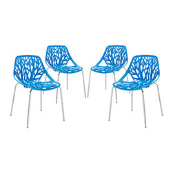 Modway - Stencil Dining Side Chair Set of 4 in Blue - Find your inner catalyst with this activating dining chair. Watch as a tree is carefully depicted in Stencil's telling journey between enigmatic forests and song-filled remembrances. Let sunlight filter through and nurture experiences of enduring light.