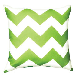 Manual - Pair of Lime Green and White Chevron Print Indoor / Outdoor Throw Pill - This pair of 18 inch by 18 inch woven throw pillows adds a wonderful nautical accent to your home or patio. The pillows have ClimaWeave weatherproof exteriors, that resist both moisture and fading. The pillows feature the same lime green and white chevron striped print on both front and back. They have 100% polyester stuffing. These pillows are crafted with pride in the Blue Ridge Mountains of North Carolina, and add a quality accent to your home.
