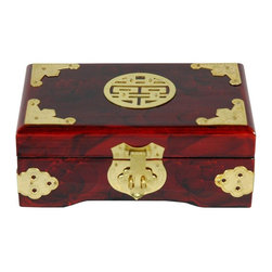 "Oriental Furniture - Rosewood Jewelry Box w/ Brass Shou - This beautiful Oriental jewelry box features a rich rosewood stain that vividly complements the lacquered brass fittings. The medallion on top is the Chinese character ""Shou,"" which represents longevity. The interior is lined in patterned silk and has a built-in ring ladder."