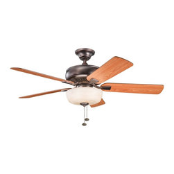 """BUILDER FANS - BUILDER FANS Saxon Select 52"""" Transitional Ceiling Fan X-BBO212933 - The warm finishes give an elegant look to this Kichler Lighting ceiling fan. From the Saxon Collection, the umber alabaster glass shade compliments the warm tones of the Oil Brushed Bronze finish and reversible walnut/cherry fan blades."""