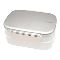 Takenaka - Bento Box Double with Fork, Silver - Takenaka Bento Boxes have it all - looks, charm and function! The Bento Box Double with Fork keeps things simple yet flexible with two stacked containers, removable dividers, a fork, and features a lock-on lid to prevent leakage. Convenience and style all in once compact package!