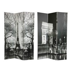 Oriental Furniture - 6 ft. Tall Double Sided Paris Room Divider - Eiffel Tower/Arc de Triomphe - Bold black and white photographs of iconic Paris architecture, the Arc de Triomphe and the Eiffel tower framed in winter tree limbs, make this screen a beautiful decorative accent for any room: living room, bedroom, dining or kitchen. Each side has a different image as shown.