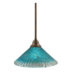 "Toltec - Toltec 26-BRZ-715 Bronze Finish Stem Pendant with 16"" Teal Crystal Glass Shade - Toltec 26-BRZ-715 Bronze Finish Stem Pendant with 16"" Teal Crystal Glass Shade"