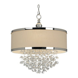 "Uttermost - Contemporary Uttermost Fascination 3-Light Chandelier - From Uttermost this Fascination Collection chandelier updates the classic appeal of crystal for today's sophisticated tastes. It features silver finish metalwork adorned by crystal accents and a silken drum shade. Silver finish. Silken drum shade. Crystal accents. Takes three 100 watt bulbs (not included). 22"" wide. 23"" high. Hang weight of 22 lbs. Includes 7 feet of chain and 15 feet of wire.  Silver finish.   Silken drum shade.   Crystal accents.   Takes three 100 watt bulbs (not included).   22"" wide.   23"" high.   Hang weight of 22 lbs.  Includes 7 feet of chain and 15 feet of wire."