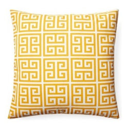5 Surry Lane - Orange Greek Key Geometric Indoor Outdoor Pillow - Our stylish geometric pillow, inspired by the classic Greek Key design, is an exceptional addition to either traditional or contemporary décor.  Whether youve got a deck, a patio, a porch, or a balcony, it's bright hue and poppy pattern will  add a playful spirit to the scene.  Same fabric front and back.  Down feather insert included.  Hidden zipper closure.  Made in the USA.