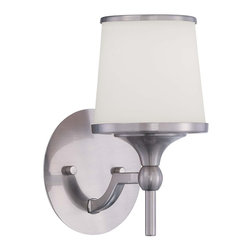 Savoy House - Hagen 1-Light Sconce - The Hagen family offers sleek, streamlined style that is modern and classic. This group has a timeless appeal with a lustrous satin nickel finish and soft white etched glass.