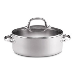 Anolon Chef Clad 4 qt. Covered Dutch Oven - Make your favorite dishes with the help and quality of the Anolon Chef Clad 4 qt. Covered Dutch Oven. This pot is made with aluminum and stainless steel for even heating and has a brushed finish and cast stainless steel handles. It can be used on all stove tops and is even dishwasher- and oven-safe. A tempered glass lid fits snugly and features a large, easy-grip handle.About Anolon CookwareFor those who think recipes are more like suggestions, meet Anolon - a leading brand of gourmet cookware designed to empower food enthusiasts to creatively express themselves in the kitchen. Anolon gives home cooks the ability to cook outside the recipe by offering a wide selection of high-performance, exceptionally crafted cookware, bakeware, cutlery, tools and gadgets that satisfy the needs of each home chef's unique cooking style. Celebrate creativity in the kitchen with Anolon.