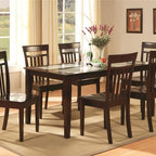 East West Furniture - Capri 5-Pc Dining Set - Includes table and four chairs. Contemporary style. Rectangular table top with four straight solid wood legs. Slat back chairs. Made from rubber solid wood. Cappuccino finish. Assembly required. Table: 60 in. L x 36 in. W x 30 in. H (68 lbs.). Chair: 17.5 in. W x 17 in. D x 38.5 in. H (33 lbs.)Experience contemporary refinement in your kitchen with Capri�۪s elegant and sleek dining room sets. This Capri table and chairs dinette offers crisp, clean lines and graceful elegance. Enticing dark cappuccino finish offers rich elegance and smart style. Solid wood table top provides simple elegance and modern class.