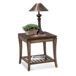 Bassett Mirror - Sun Valley Rectangle End Table - Copper, slate, and select hardwoods. Measures: 24 in. W x 28 in. D x 25 in. H. Part of the Sun Valley Collection.