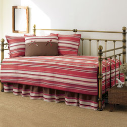 None - Stone Cottage Fresno Red Quilted Cotton 5-piece Daybed Set - Available in a variety of colors to match your decor, this five-piece striped daybed set includes a bedskirt, quilted daybed cover, two quilted shams, and a printed sham for contrast. Made from 100 percent cotton, the set is machine washable.