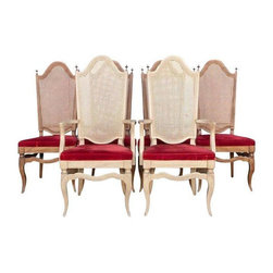 Pre-owned French Regency Style Chairs - Set of 6 - Red Velvet is the flavor du jour! A set of 6 French Regency style chairs with can backs and red velvet cushions. Includes 2 arm chairs and 4 side chairs. We feel you should know that the finishes on arm chairs is slightly different (a little lighter) than the rest of the side chairs. But they still look great together.