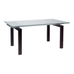 """Euro Style - Shelly Table - Frosted-Clear Glass/Wenge - The table that has more of everything.  Clear glass or frosted?  How about both.  63"""" wide to 87"""" wide.  No problem.  The Shelly table is designed for a quiet dinner for 2 or go ahead and invite everyone you know!  You've got room."""