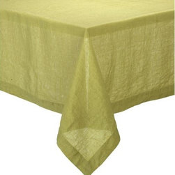 "Helena Pear 60""x120"" Tablecloth - Lightweight 100% linen tablecloths in beautifully vibrant solids are pre-washed for extra softness. Tailored with 2"" hems and mitered corners for a neat, finished look."