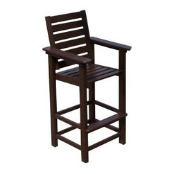 POLYWOOD® Recycled Plastic Captain 29.5 in. Bar Stool - Counter-height barstool made of POLYWOOD recycled plasticsCreated with a traditional wide-slat design, this POLYWOOD 29.5-Inch Recycled Plastic Captain Bar Stool has a tremendous amount of support and comfort with its wide armrests and two footrests. The advantages of recycled plastic are hard to ignore. Enhancing the comfort and style of your outdoor seating with recycled plastic is an easy way to practice environmental conservation. Choose from six great colors to coordinate with your patio. The UV-stabilized colors will never fade and clean easily.Recycled plastic is totally maintenance-free, too. No staining or treating whatsoever means you can spend more time relaxing. And relax you will, knowing that this barstool keeps over 500 plastic milk jugs out of our landfills. Some assembly required. Please note: This item is not intended for commercial use. Warranty applies to residential use only.About POLYWOODThe advantages of POLYWOOD Recycled Plastic are hard to ignore. POLYWOOD absorbs no moisture and will NOT rot, warp, crack, splinter, or support bacterial growth. POLYWOOD is also compounded with permanent UV-stabilized colors, which eliminate the need for painting, staining, waterproofing, stripping, and resurfacing. This material is impervious to many substances, including salt water, gasoline, paint, stains, and mineral spirits. In addition, every POLYWOOD product comes with stainless steel hardware.POLYWOOD is extremely easy to clean and maintain. Simple soap and water is all you need to get rid of dirt and make your furniture look new again. For extreme cleaning needs, you can use a 1/3 bleach and water solution. Most POLYWOOD furnishings are available in a variety of classic colors, which allow you to choose your favorite or coordinate with the furniture you already have. This is sure to be a piece that you will be proud to own for a lifetime.