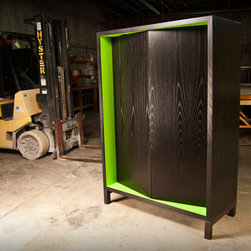 Hewitt Armoire - Ash with black stain and pigmented lacqured interior/