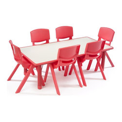 "Children's Table and Chair Set, Height Adjustable w/ (10) 12"" Seats - Red - Designed for durability, these red toddler table and chair sets are the perfect addition to any daycare or home play room. The kid's furniture shown here includes (10) 12""h stackable seats fabricated from polypropylene. The high quality table and chair sets feature height adjustable legs which can be raised from 14.5""h - 24""h to accommodate varying classroom ages. No children's play room is complete without a sturdy surface to write on, and a comfy place to sit! The table and chair sets are built with one-piece seats with a vented back that is shaped to keep little ones in a position that inspires good posture. To clean the kids' furniture shown here, simply wipe down with a damp cloth using non-abrasive cleaning solutions."