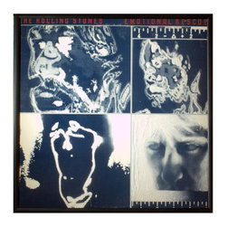 """Glittered Rolling Stones Emotional Rescue album - Glittered record album. Album is framed in a black 12x12"""" square frame with front and back cover and clips holding the record in place on the back. Album covers are original vintage covers."""