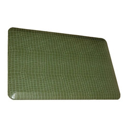 Rhino Anti-Fatigue Mats - Comfort Mats: Rhino Anti-Fatigue Mats Safety Supplies Housewares Alligator - Shop for Flooring at The Home Depot. Our Comfort Craft Housewares Premium line was designed to bring commercial grade comfort to the home. These mats come in 80 different styles and colors to match any existing color schemes in your home. Our Housewares line has set a new standard for high end kitchen matting. The days of crinkled wrinkled and rolled up mats that constantly require straightening and cause trip hazards are over. This mat will stay where you put it exactly like you want. No sliding or wrinkling. Color: Alligator Mojito Green.