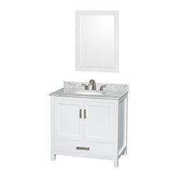 Wyndham Collection - Wyndham Collection WCS141436SWH Sheffield 36-in. Single Bathroom Vanity Set with - Shop for Bathroom Cabinets from Hayneedle.com! We know you're not the kind of person who likes to be labeled so we don't need to throw around words like traditionalist or moderne when we can just show you the versatile charm of the Wyndham Collection WCS141436SWH Sheffield 36-in. Single Bathroom Vanity Set with Mirror - White. This solid-wood vanity has a free-standing design that shows off the vanity top and undermount sink of your choice. You can also choose to have no top or sink if you have something else in mind. A deep lower drawer slides on fully extendable metal glides that give you complete access. An open main compartment sits behind a pair of double-doors offering plenty of customziable storage. Brushed chrome highlights the metal pulls and each door and drawer closes silently with soft-close latches. The matching mirror shares the same materials and white finish while framing a thick beveled-edge mirror. The vanity top features a backsplash and will be pre-drilled for either a single-hole or three-hole faucet.Product Dimensions:Mirror dimensions: 24W x 33H in.Vanity dimensions with top: 36W x 22D x 35H in. About the Wyndham CollectionWyndham and the Wyndham collection are all about refinement detailing uniqueness quality and longevity. They are dedicated to the quality of their products and own the factory where each piece is constructed. This allows Wyndham to offer products that reflect the rigorous quality standards required for every piece that is offered to their customers. The Wyndham collection showcases elegant modern design styles that highlight functionality and style in every detail.