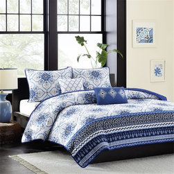Intelligent Design - Intelligent Design Cassy Coverlet Set - The Cassy coverlet creates an elegant look with a blue and white print with gray accents. Varying blue and gray prints run along the bottom and a dark blue border outlines the coverlet creating dimension and depth. Made from polyester and a cotton filling this coverlet is machine washable for easy care. Two white and blue decorative pillows with embroidered details complete the look. Coverlet/Sham: 100% polyester peach skin printed fabric face,micro fiber solid reverse Filling: 200g cotton Pillow: polyester cover and polyester filling
