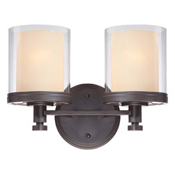 Nuvo Lighting - Nuvo Lighting 60-4542 Decker 2-Light Vanity Fixture with Clear and Cream Glass - Nuvo Lighting 60-4542 Decker 2-Light Vanity Fixture with Clear and Cream Glass