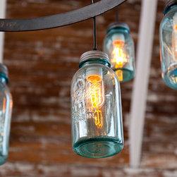 Custom Fab Mason Jar Light Fixture - In house custom fabricated using vintage jars and mild steel. Photo Credit: Molly DeCoudreaux
