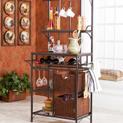 Upton Home - Berkshire Metal/ Rattan Wine Storage Rack - This storage rack offers a counter-style shelf, raised shelf, a wine bottle rack, and stemware hangers. Additional storage options include two rattan basket drawers, three towel bars, and seven S-shaped hooks for decorative towels or mugs.